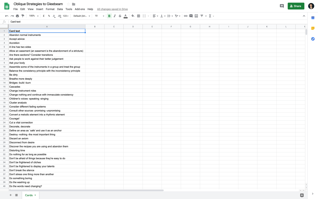 Google Sheets spreadsheet with messages pasted in